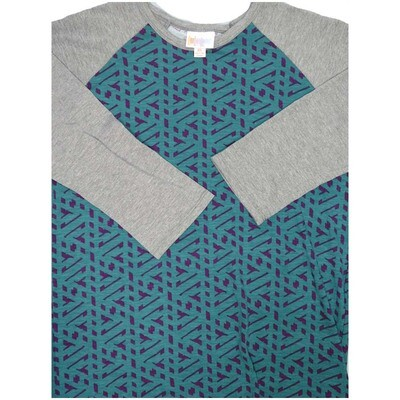 LuLaRoe Randy X-Small Trippy 70s Geometric Raglan Sleeve Unisex Baseball Womens Tee Shirt - XS fits 2-4