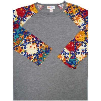 LuLaRoe Randy X-Small 70s Trippy Psychedelic Geometric Raglan Sleeve Unisex Baseball Womens Tee Shirt - XS fits 2-4
