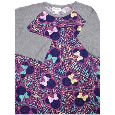 LuLaRoe Randy X-Small Disney Minnie Mouse Raglan Sleeve Unisex Baseball Womens Tee Shirt - XS fits 2-4