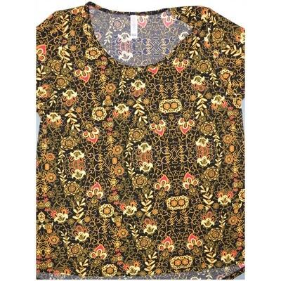 LuLaRoe Classic Tee Large L Floral Fleur de Lis Paisley Womens Shirt fits sizes 14-16