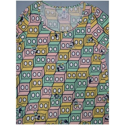 LuLaRoe Classic Tee Large L Disney Mickey Mouse 3D Geometric Womens Shirt fits sizes 14-16