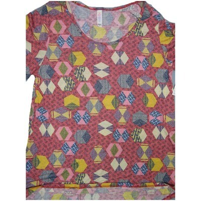 LuLaRoe Classic Tee Large L Chevron Stripe Geometric Womens Shirt fits sizes 14-16