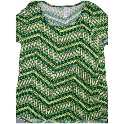 LuLaRoe Classic Tee Large L Kermit The Frog Zig Zag Stripe Womens Shirt fits sizes 14-16