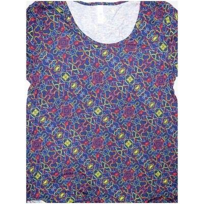 LuLaRoe Classic Tee Large L Diagonal Stripe Geometric Womens Shirt fits sizes 14-16