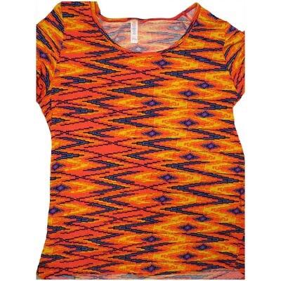 LuLaRoe Classic Tee Large L Trippy 70s Psychedelic Zig Zag Stripe Geometric Womens Shirt fits sizes 14-16