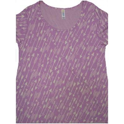 LuLaRoe Classic Tee Large L Diagonal Arrow Stripe Womens Shirt fits sizes 14-16