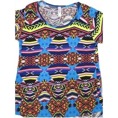 LuLaRoe Classic Tee Medium M Trippy 70s Psychedelic Stripe Womens Shirt fits sizes 10-12