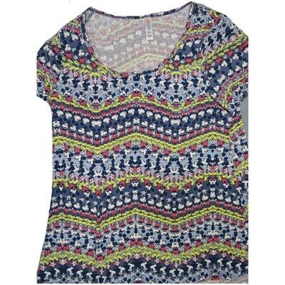 LuLaRoe Classic Tee Medium M Disney Mickey Mouse Zig Zag Stripe Womens Shirt fits sizes 10-12