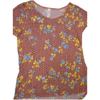 LuLaRoe Classic Tee Medium M Roses Floral Stripe Womens Shirt fits sizes 10-12