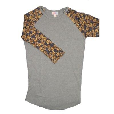 LuLaRoe Randy XX-Small Light Gray with Blue Yellow Raglan Sleeve Unisex Baseball Tee Shirt - XXS fits 00-0