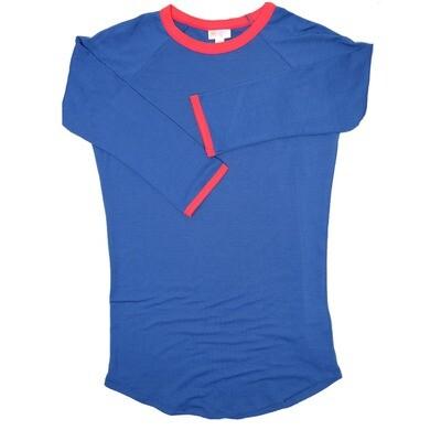 LuLaRoe Randy XX-Small Royal Blue Red Trim Raglan Sleeve Unisex Baseball Tee Shirt - XXS fits 00-0
