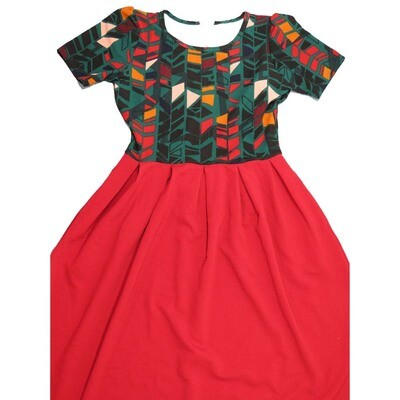 LuLaRoe Amelia Large L Geometric Top Solid Bottom Womens Pocket Dress for sizes 14-16