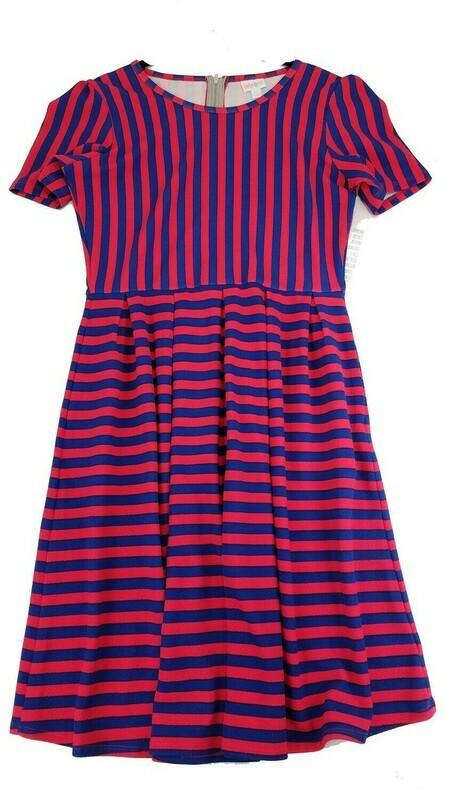 LuLaRoe Amelia Hot Pink and Blue Stripe X-Large (XL) LuLaRoe Womens Pocket Dress for sizes 18-20