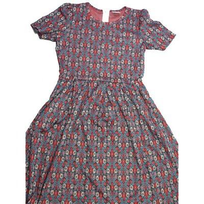 LuLaRoe Amelia Large L Floral Geometric Womens Pocket Dress for sizes 14-16