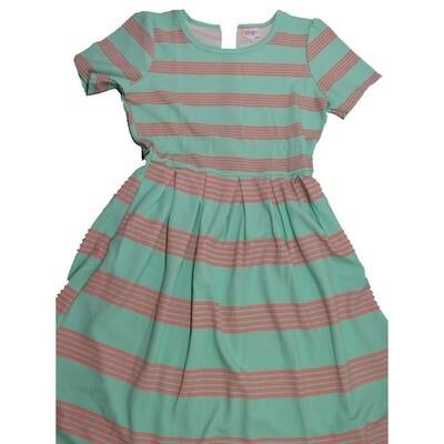 LuLaRoe Amelia Large L Multi Stripe Womens Pocket Dress for sizes 14-16
