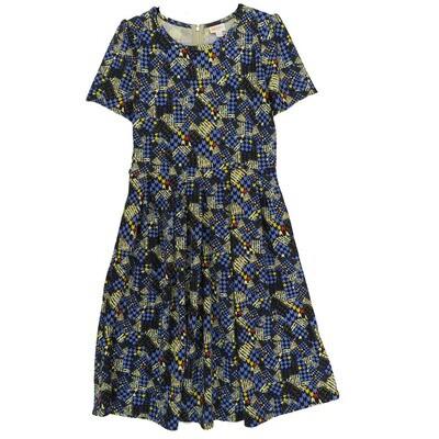 LuLaRoe Amelia Large L Geometric Chevron Stripe Womens Dress for sizes 14-16