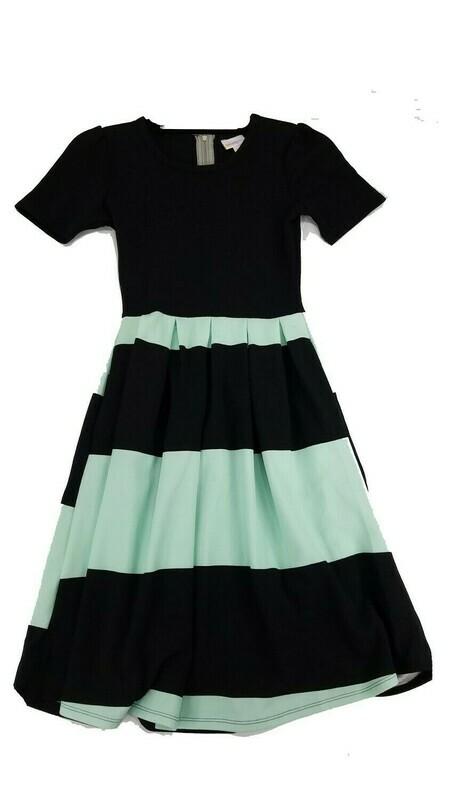 LuLaRoe Amelia Black and Mint Green Stripe XX-Small (XXS) Womens Dress for sizes 00-0