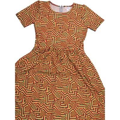 LuLaRoe Amelia Large L Trippy Patchwork Geometric Womens Pocket Dress for sizes 14-16