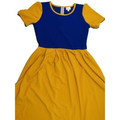 LuLaRoe Amelia Large L Two Tone Solid Womens Pocket Dress for sizes 14-16