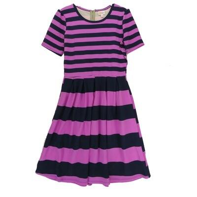 LuLaRoe Amelia Medium M Double Stripe Womens Pocket Dress for sizes 10-12