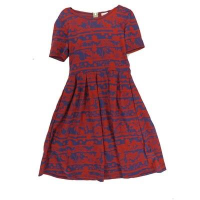 LuLaRoe Amelia Medium M Floral Stripe Womens Pocket Dress for sizes 10-12