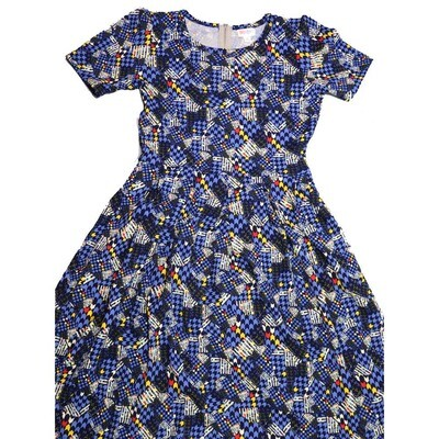 LuLaRoe Amelia Medium M Geometric Chevron Stripe Womens Pocket Dress for sizes 10-12