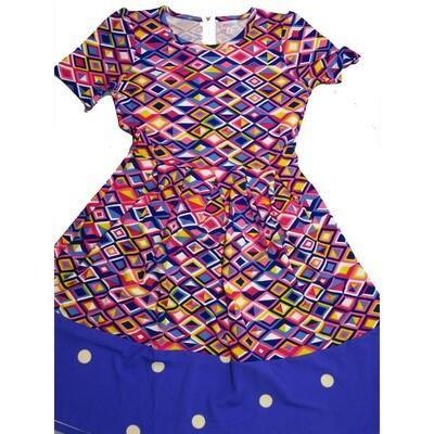 LuLaRoe Amelia Medium M Geometric Top with Polka Dot Hem Womens Pocket Dress for sizes 10-12