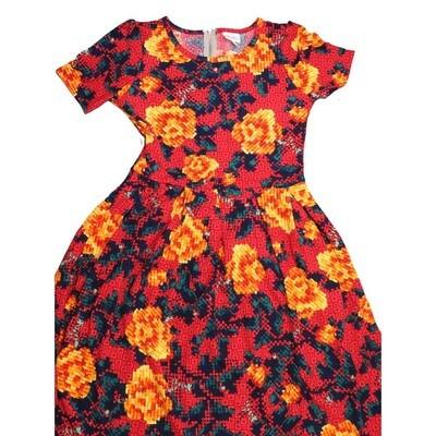 LuLaRoe Amelia Medium M Polka Dot Floral Womens Pocket Dress for sizes 10-12