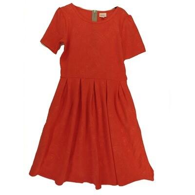LuLaRoe Amelia Medium M Solid Red Floral Embossed Womens Pocket Dress for sizes 10-12