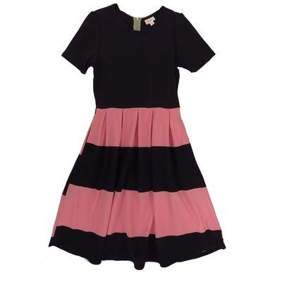 LuLaRoe Amelia Medium M Solid Top Stripe Bottom Womens Pocket Dress for sizes 10-12