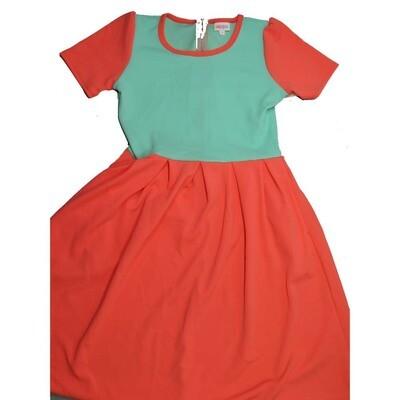 LuLaRoe Amelia Medium M Two Tone Solid Womens Pocket Dress for sizes 10-12