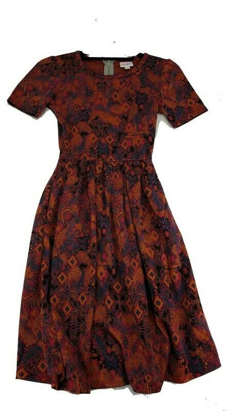 LuLaRoe Amelia Pink Orange and Blue Geometric XX-Small (XXS) Womens Dress for sizes 00-0
