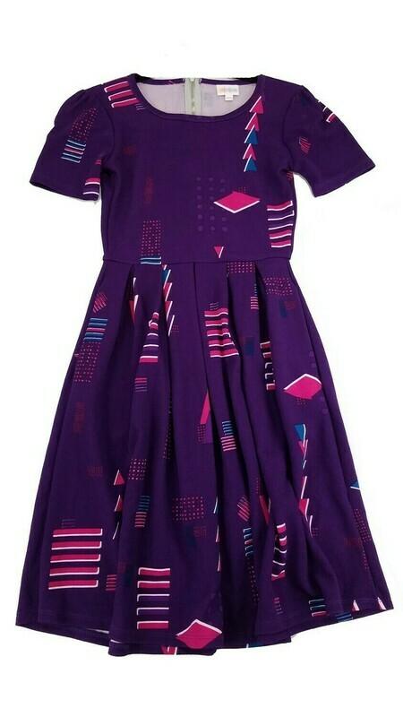 LuLaRoe Amelia Purple Fuchsia and Blue Geometric XX-Small (XXS) Womens Dress for sizes 00-0