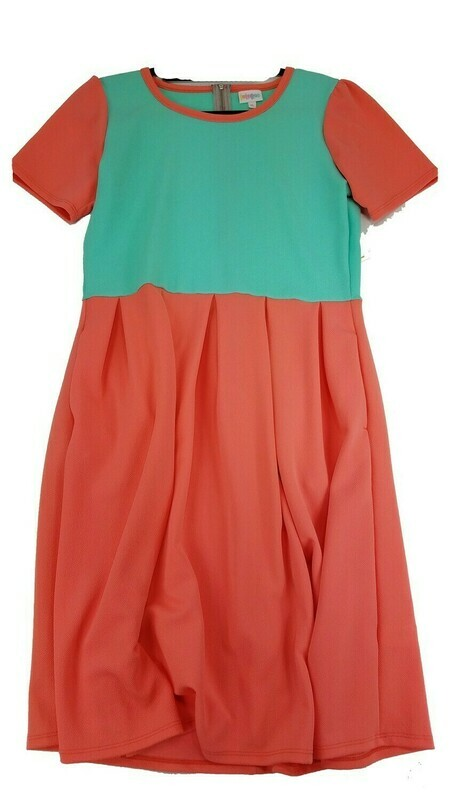 LuLaRoe Amelia Solid Coral and Teal X-Large (XL) LuLaRoe Womens Pocket Dress for sizes 18-20