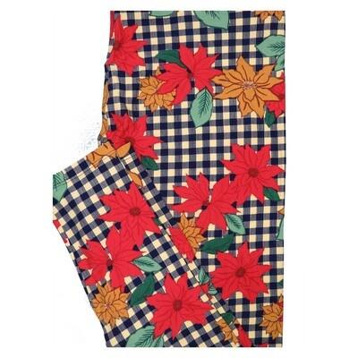 LuLaRoe TC2 Christmas Poinsettia Tartan Holiday Buttery Soft Leggings fits Adult Sizes 18+