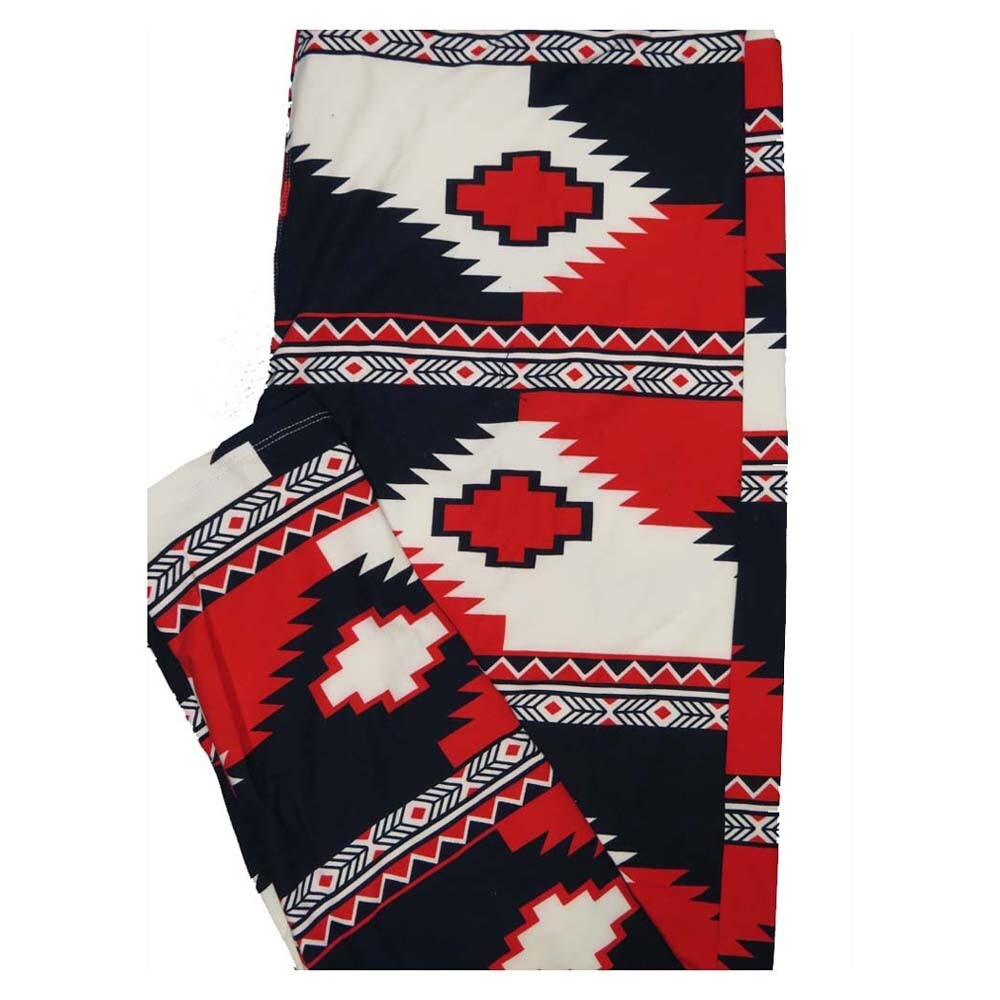 LuLaRoe TC2 Americana USA Southwestern Aztek Red White Blue Stripe Buttery Soft Leggings fits Adults 18+