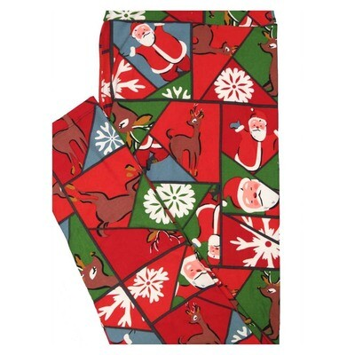 LuLaRoe TC2 Christmas Santa Reindeer Geometric Holiday Buttery Soft Leggings fits Adult Sizes 18+