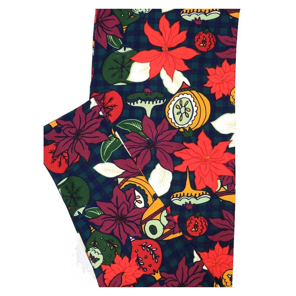 LuLaRoe TC2 Christmas Poinsettia Ornaments Holiday Buttery Soft Leggings fits Adult Sizes 18+