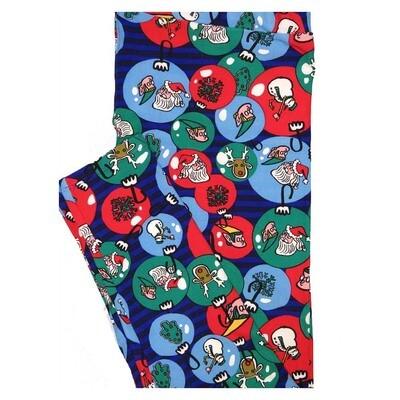 LuLaRoe TC2 Christmas Ornaments Santa Reindeer Elf Snowman Holiday Buttery Soft Leggings fits Adult Sizes 18+