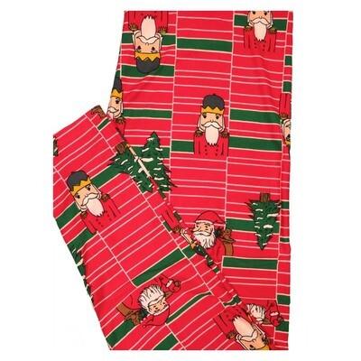 LuLaRoe TC2 Christmas Santa Tree Stripe Geometric Holiday Buttery Soft Leggings fits Adult Sizes 18+