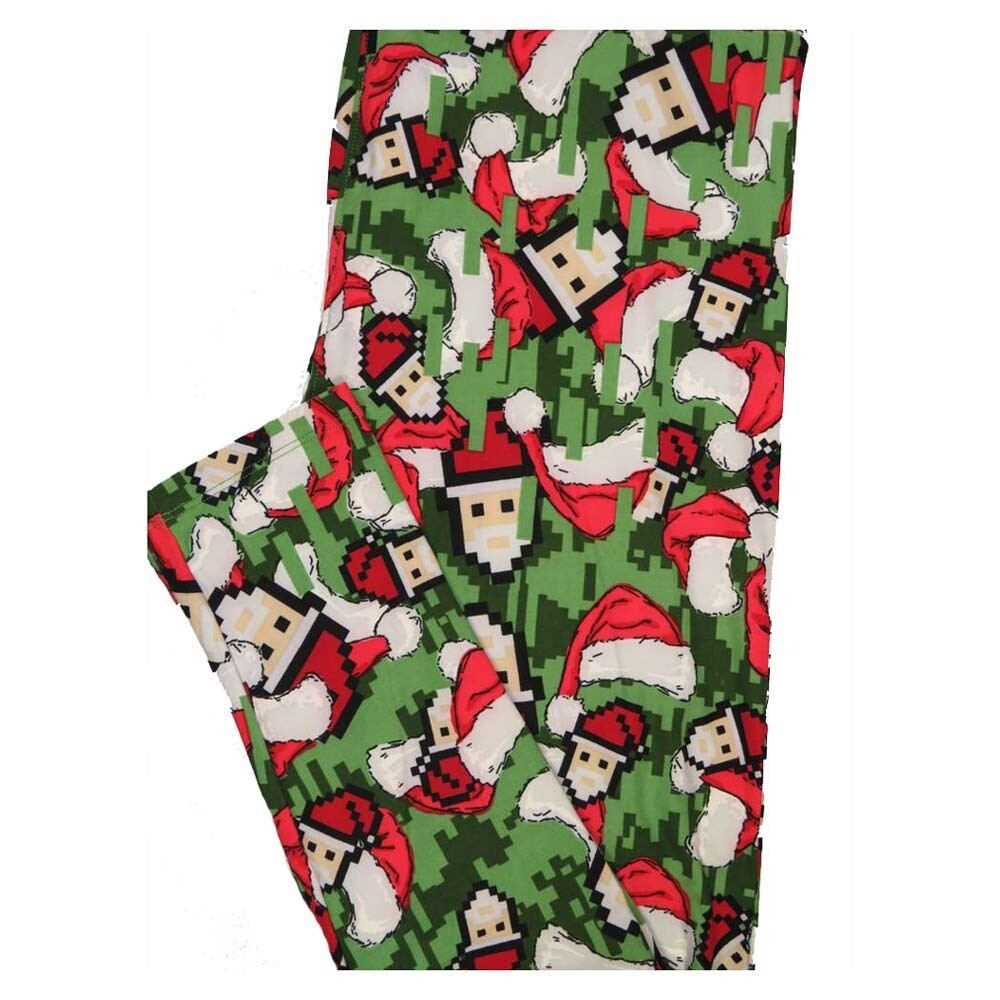 LuLaRoe TC2 Christmas Santa Claus Pixelated Holiday Buttery Soft Leggings fits Adult Sizes 18+
