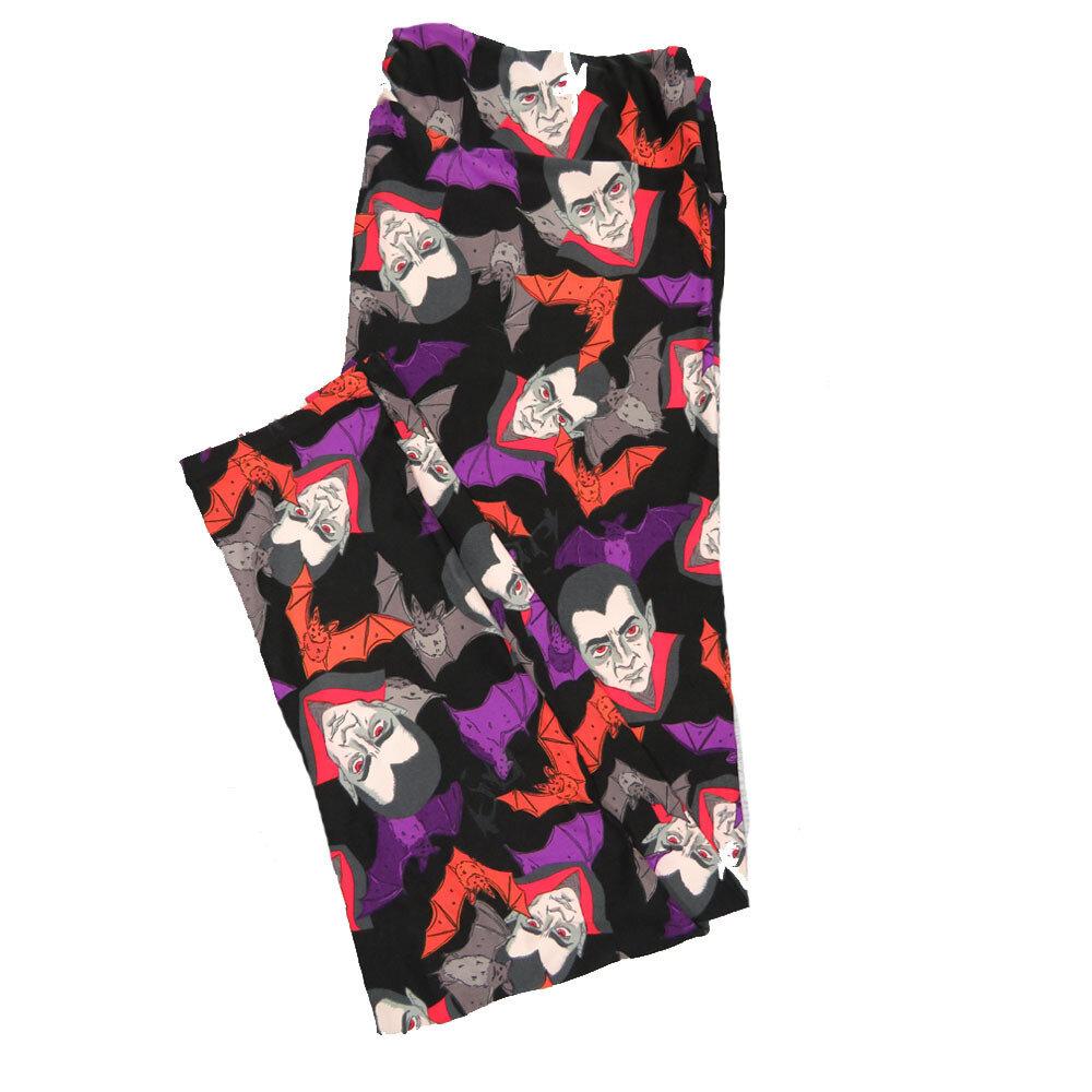 LuLaRoe TC2 Halloween Dracula Nosfaratu Vampire Bats Leggings fits sizes 18+ 9004-J