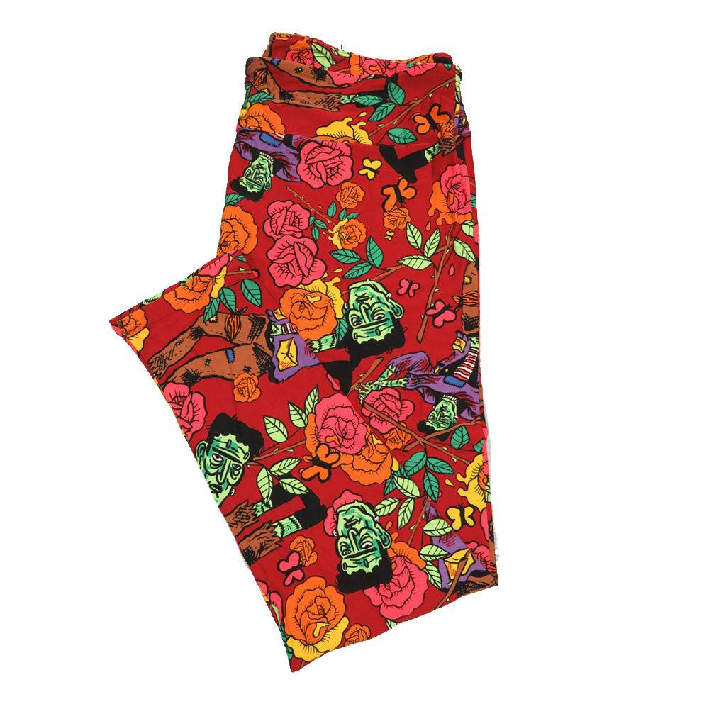 LuLaRoe TCTWO TC2 Halloween Frankenstein Flowers Butterfly Leggings fits sizes 18+ 9004-K