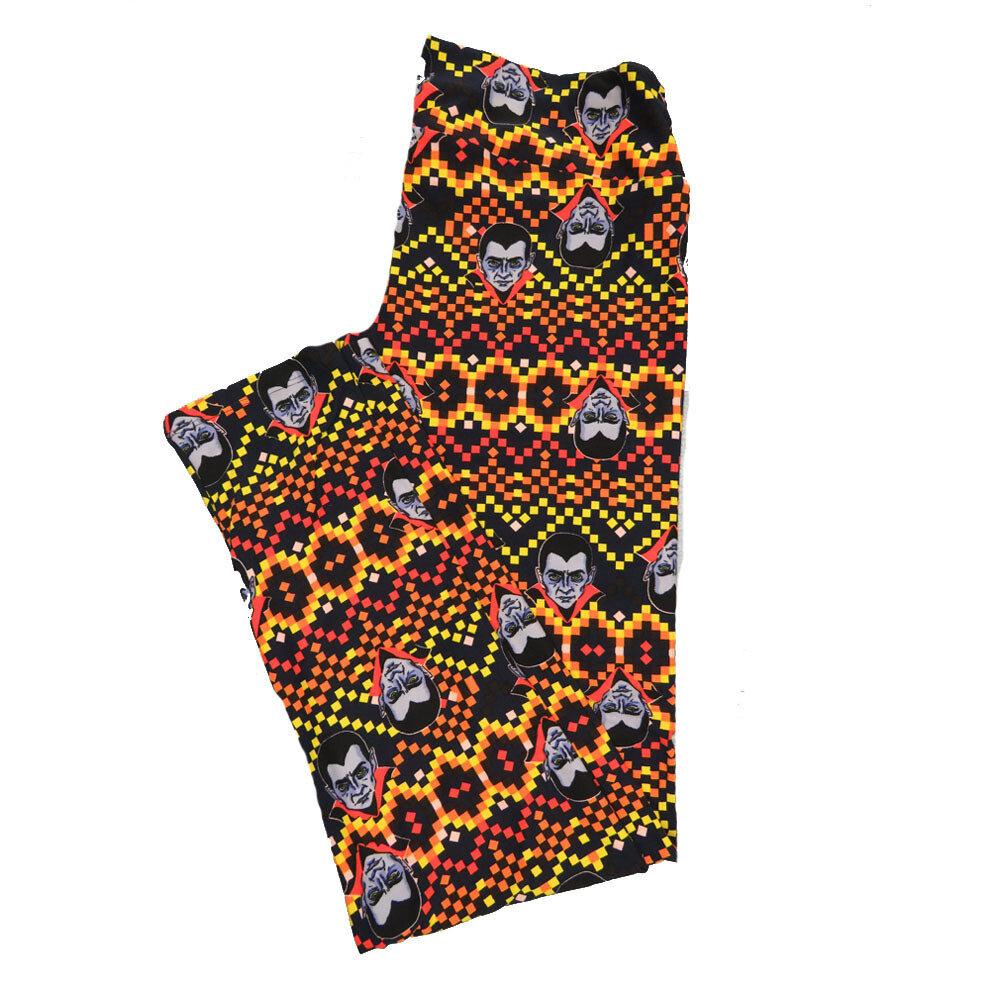 LuLaRoe TC2 Halloween Geometric Dracula Nosfaratu Polka Dot Zig Zag Stripe Leggings fits sizes 18+ 9004-X