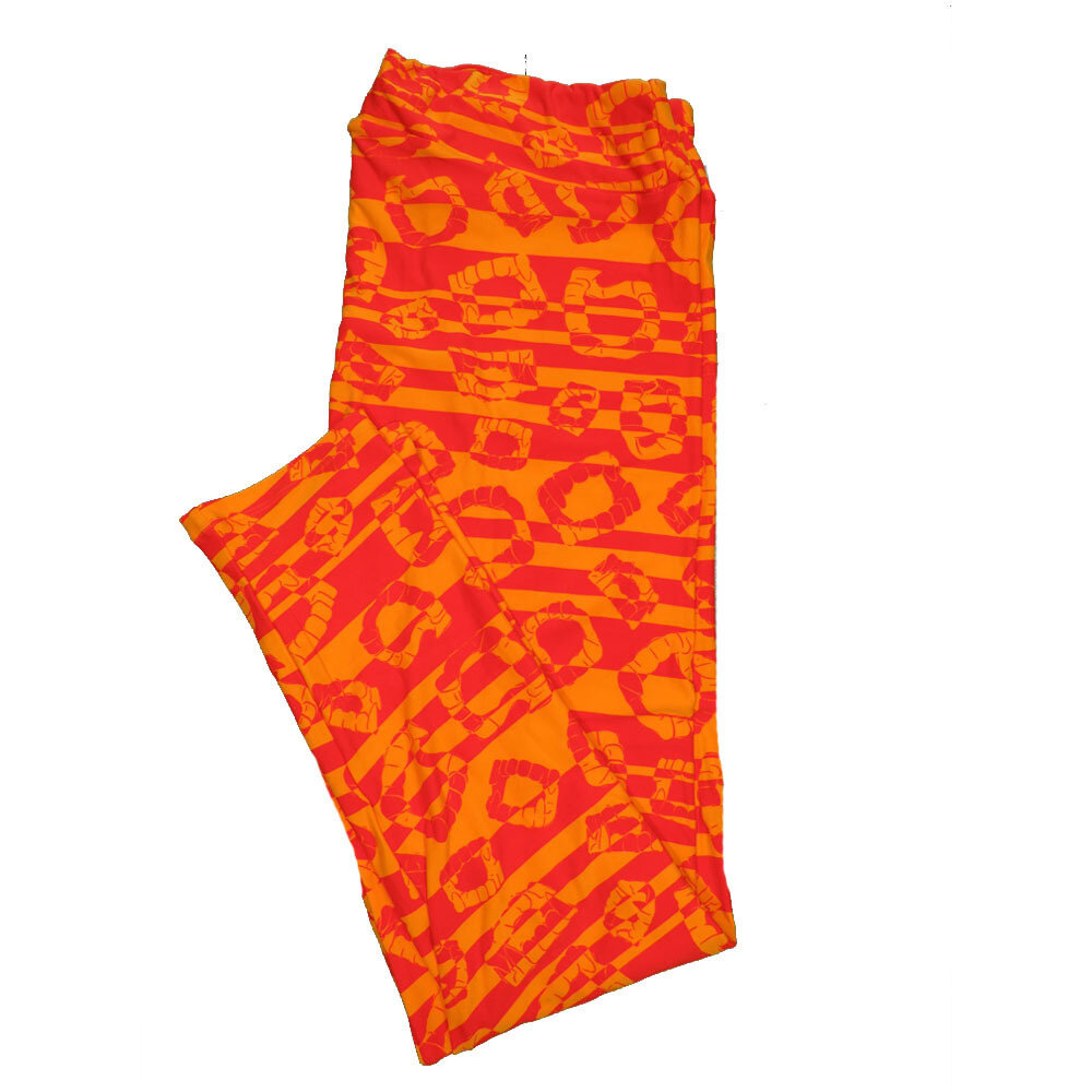 LuLaRoe TC2 Halloween Geometric Stripe Fake Vampire Teeth Orange Leggings fits sizes 18+ 9004-L
