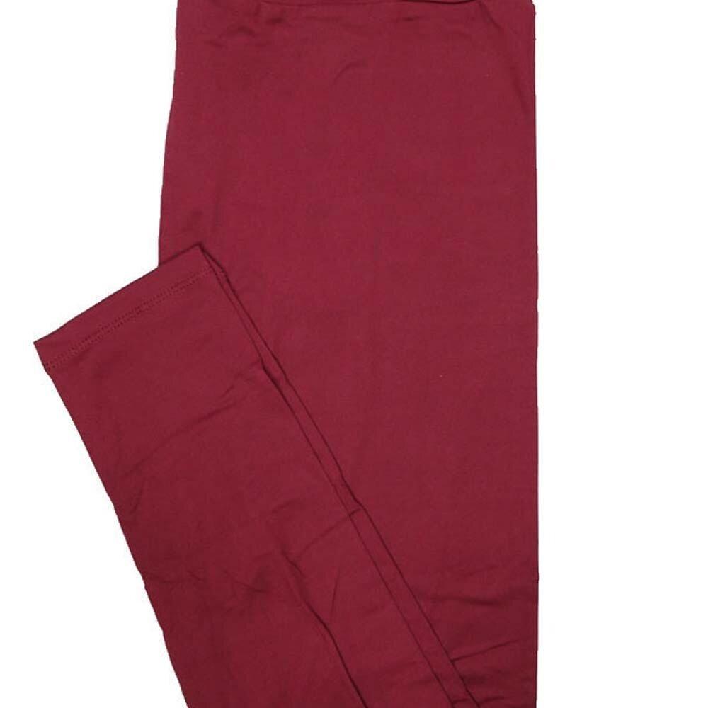 LuLaRoe TC2 Solid Maroon Womens Leggings fits Adult sizes 18+