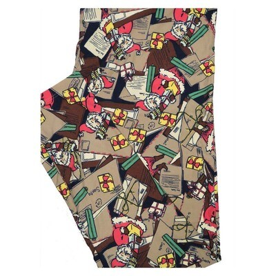 LuLaRoe TC2 Christmas Santas Letters Presents Holiday Buttery Soft Leggings fits Adult Sizes 18+