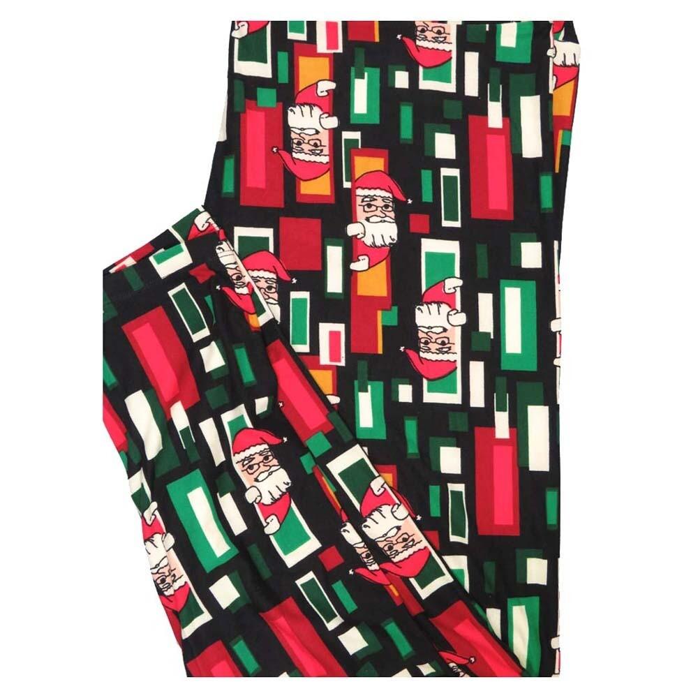 LuLaRoe TC2 Christmas Peeking Santa Claus Holiday Buttery Soft Leggings fits Adult Sizes 18+
