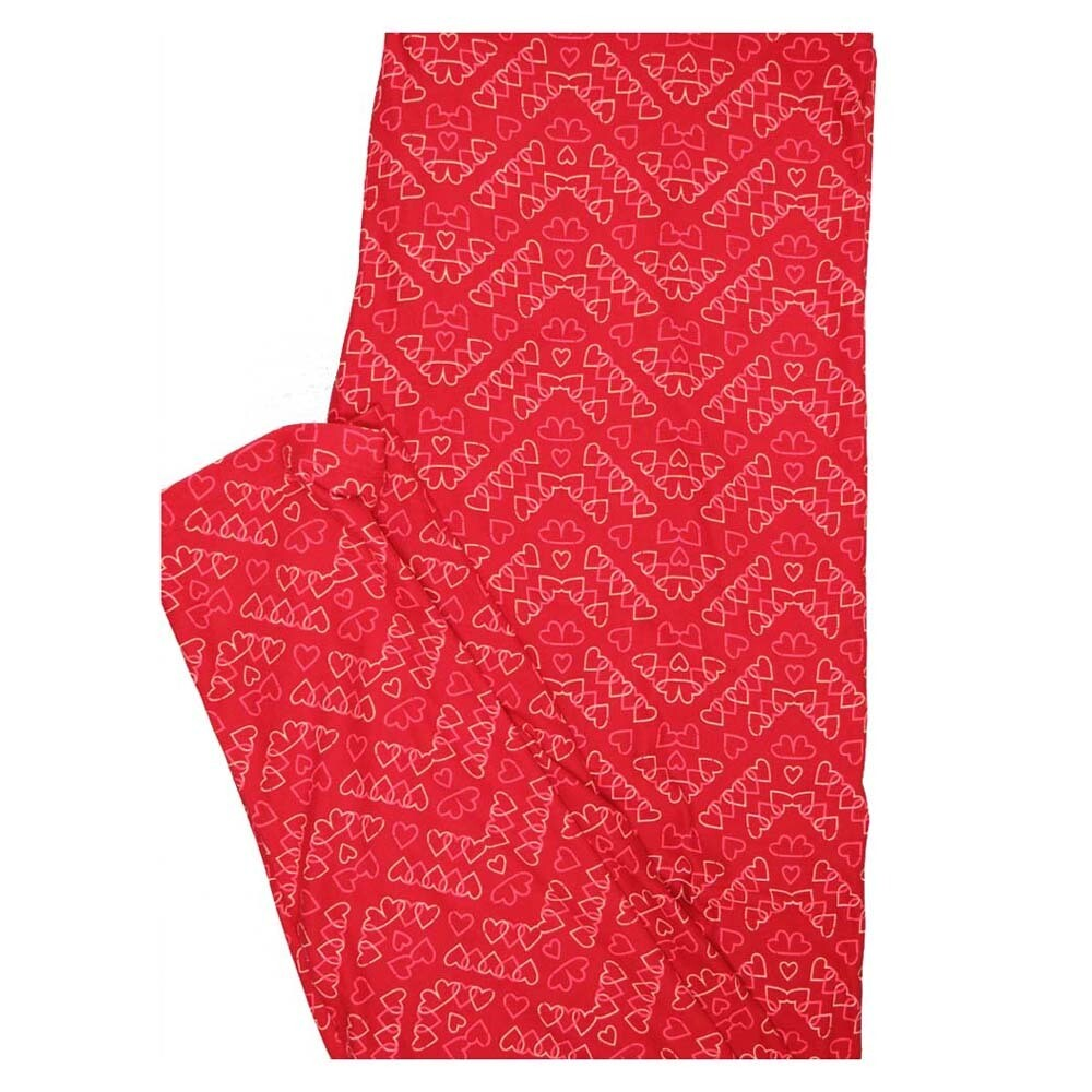 LuLaRoe TC2 Valentines Zig Zag Locking Hearts Red Pink White Buttery Soft Leggings fits Adults 18+