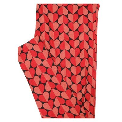 LuLaRoe TC2 Valentines Two Tone Hearts Stripes Black Red Pink White Buttery Soft Leggings fits Adults 18+